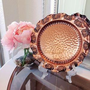 Vintage Solid Copper Hammered Hanging Plate